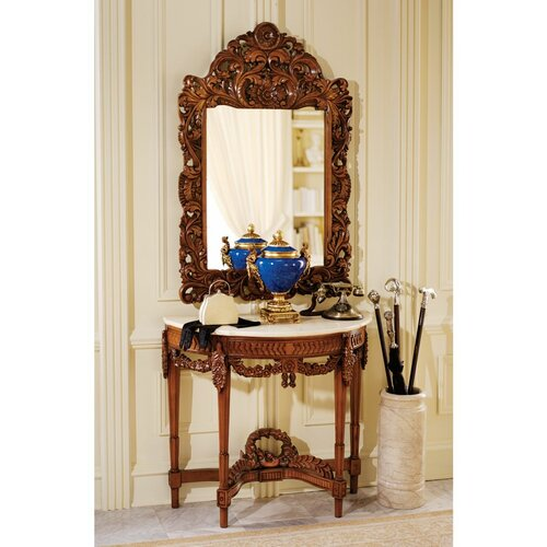 Chateau gallet console table and mirror set wayfair for Foyer console table and mirror set