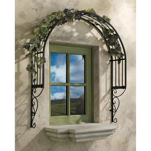 Design toscano thornbury ornamental garden window trellis for Window arch wall decor