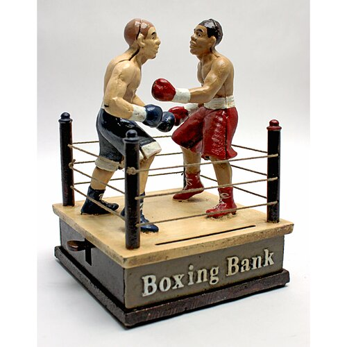 Design Toscano Battling Boxers Die Mechanical Coin Bank Statue