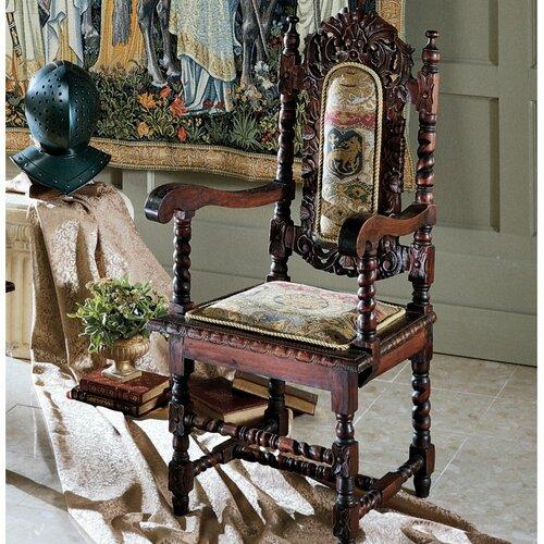 Design Toscano Charles II Fabric Arm Chair