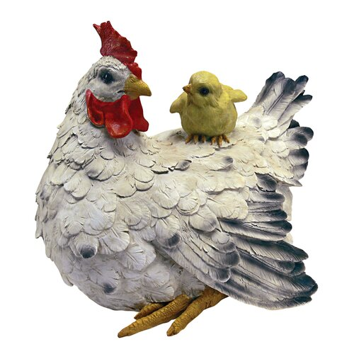 Design Toscano Barnyard Mother Hen and Baby Chick Statue