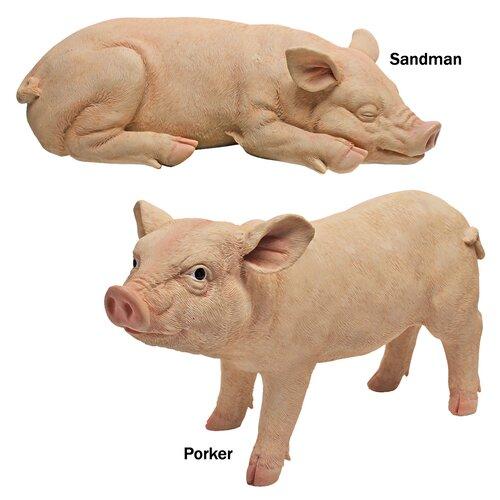 Piggy Garden Sandman and Porker Statue (Set of 2)