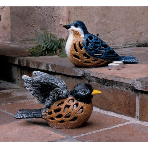 Design Toscano Birds of a Feather Bluebird Iron Candleholder