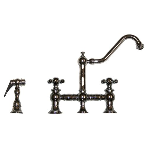 Whitehaus collection vintage iii cross handle widespread for Vintage style kitchen faucets