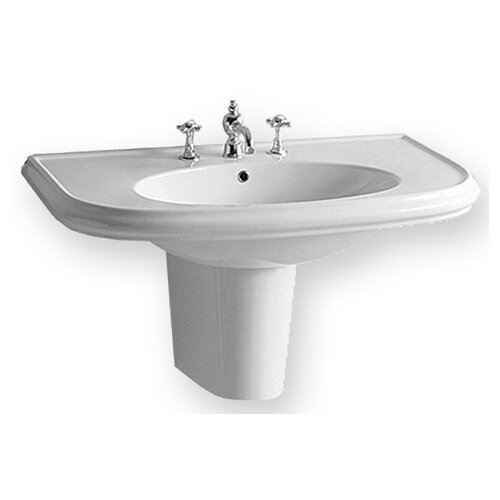 China Wall Mount Large U-Shaped Bathroom Sink with Integrated Oval Bowl
