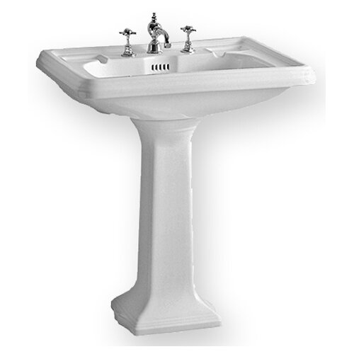 China Large Traditional Pedestal Bathroom Sink with Dual Soap Ledges