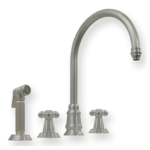 Evolution Double Cross Handle Widespread Kitchen Faucet with Side Spray