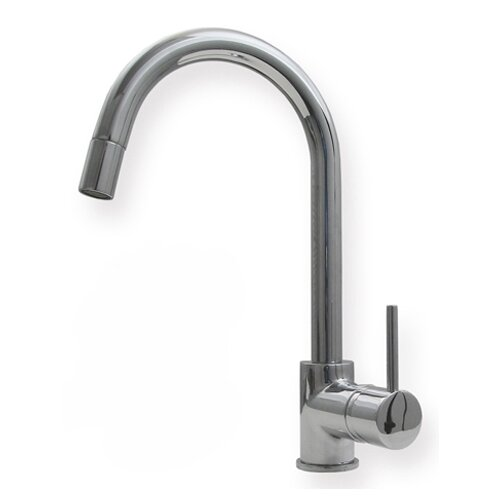 Metrohaus One Handle Single Hole Luxe Gooseneck Swivel Kitchen Faucet with Lever Handle and ...