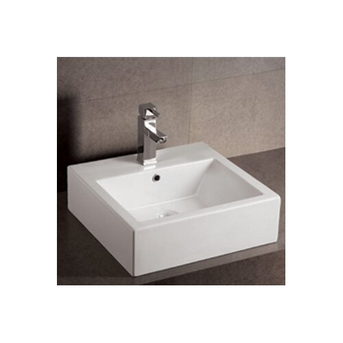 Isabella Square Bathroom Sink with Overflow and Rear Center Drain