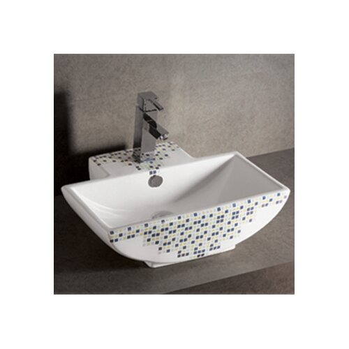 Isabella Decorative Tile Rectangular Bathroom Sink with Center Drain