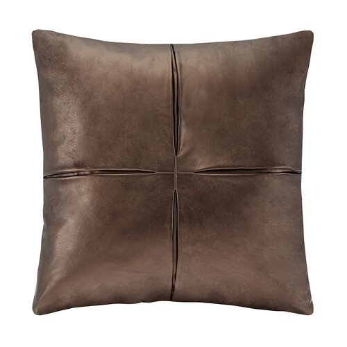 Metallic Faux Leather Square Pillow