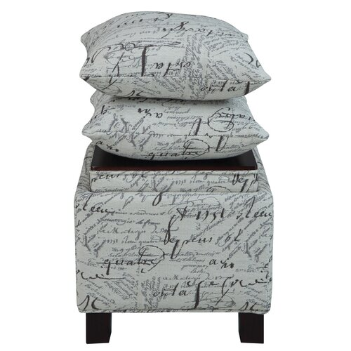 Madison Park Script Cube Ottoman