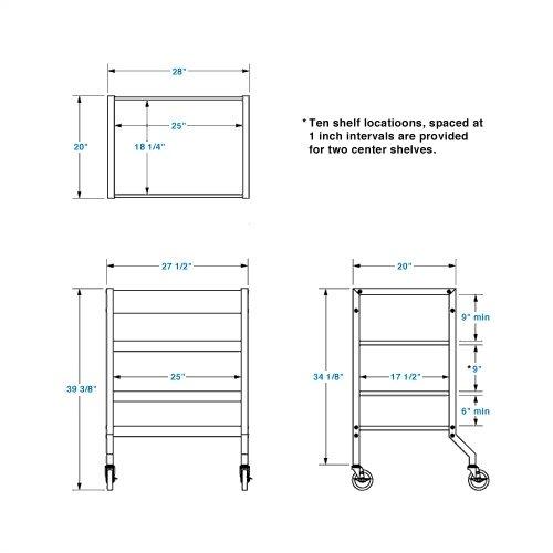 Lucasey Mobile Cart with 2 Multi-Position Center Shelves