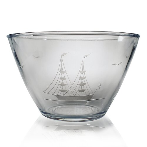 Susquehanna Glass Hand Cut Clipper Ship Pattern Serving Bowl