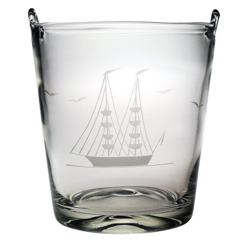 "Susquehanna Glass Individual 8"" Ice Bucket Hand Cut Clipper Ship Pattern"