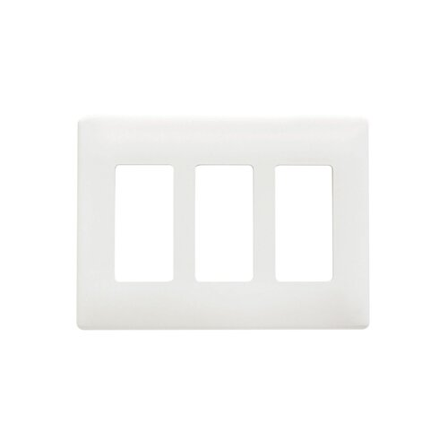 "Legrand 8.54"" Four Gang Decorator Screwless Wall Plate in Gray"