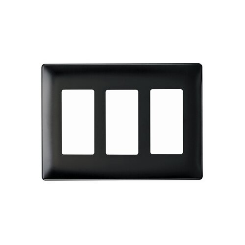 Legrand Three Gang Decorator Screwless Wall Plate in Black