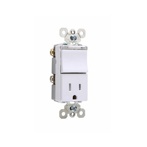 Legrand TradeMaster Decorator One Single Pole Switch, One Outlet and One Pilot Light in White