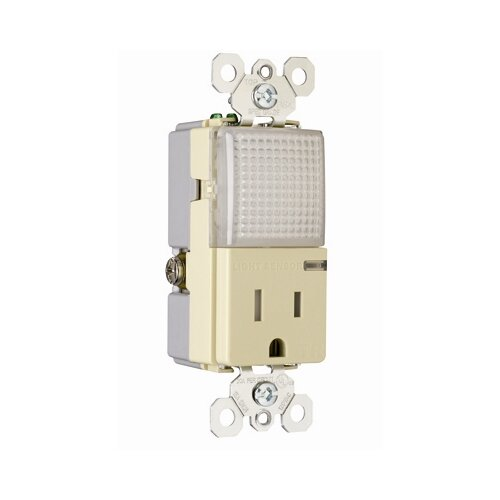 "Legrand TradeMaster 3.81"" 15A 120/125V Decorator Hallway Light and Single Outlet in Ivory"