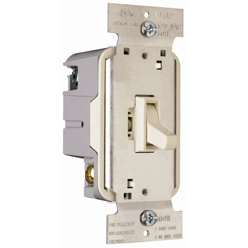 Legrand TradeMaster 600W Single Pole Toggle Dimmer in Light Almond
