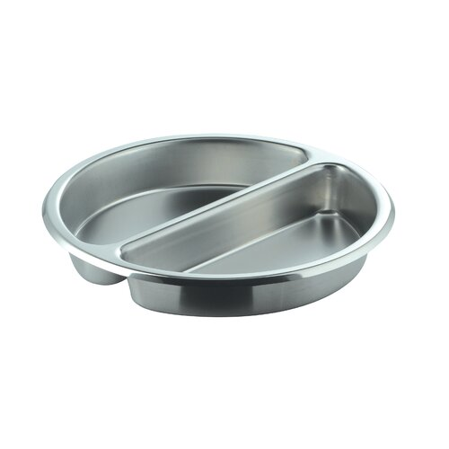 Divided Medium Round Stainless Steel Food Pan