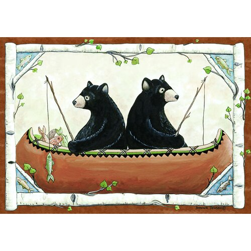 Custom Printed Rugs Wildlife Bears in Canoe Novelty Rug