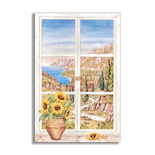 Sunflowers and Mountains Painting Print Plaque