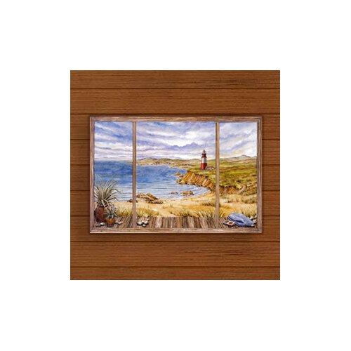 Cloudy Coastline Painting Print Plaque