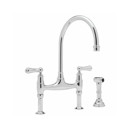 "Rohl Perrin and Rowe Deck Mount Two Handle Widespread Bridge Faucet with Side Spray and High ""C"" Spout"