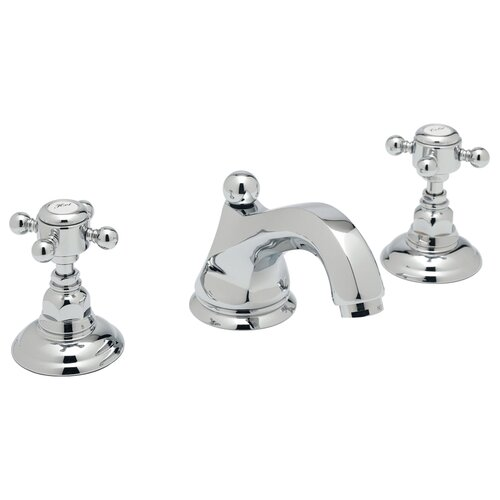 Rohl Country Double Handle Widespread Bathroom Faucet with Cross Handle and Pop-Up Drain