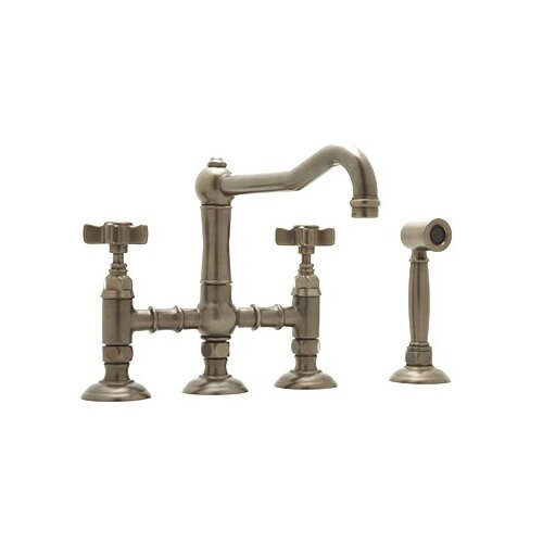 Country Kitchen Two Handle Widespread Bridge Faucet with Cross Handles ...