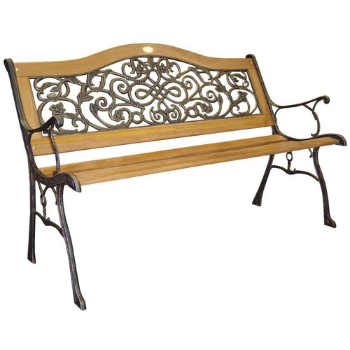 DC America Sienna Wood and Cast Iron Park Bench