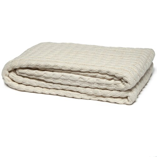 Eco Designer Ribbed Cable Organic Cotton Throw Blanket