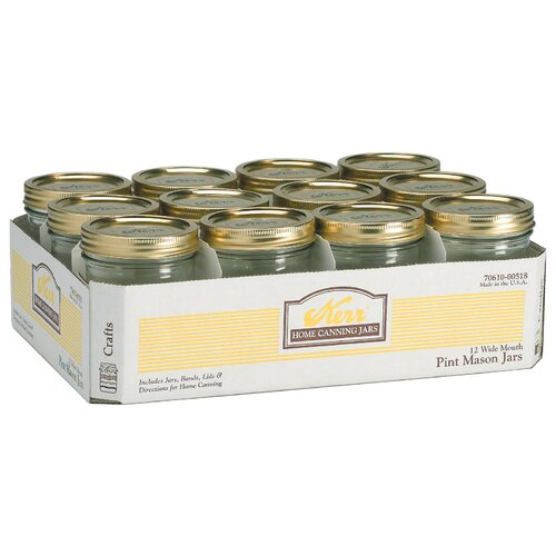 Alltrista 1 Pint Wide Mouth Canning Jar (Set of 12)