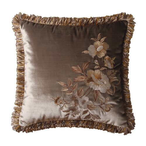 Jennifer Taylor Legacy Synthetic Pillow with Brush Fringe and Embroidered