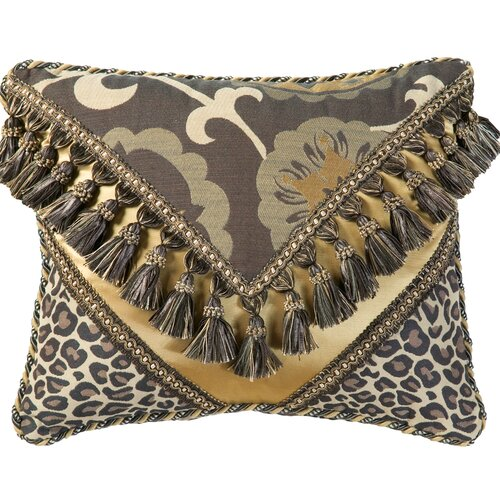 Jennifer Taylor Espresso Synthetic Decorative Pillow 2030 with Braid and Tassel Fringe