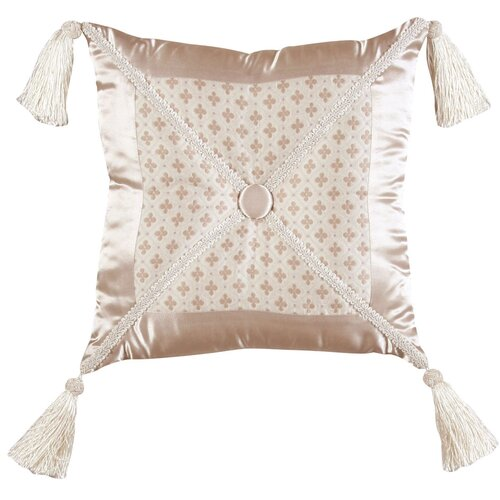Jennifer Taylor Lumina Synthetic Pillow with Braid, Tassel and Self Button