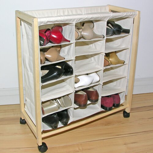 18 Pocket Rolling Shoe Bin