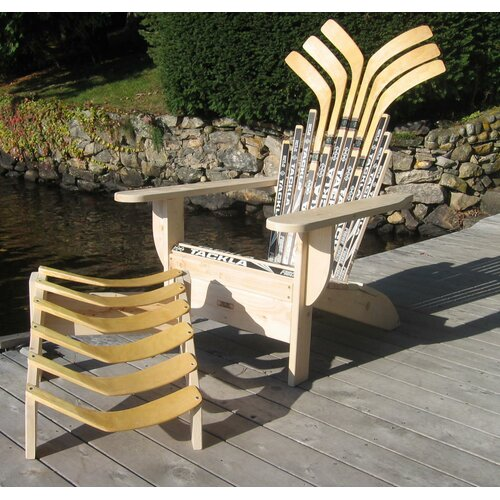 Ski Chair Hockey Stick Adirondack Chair and Ottoman
