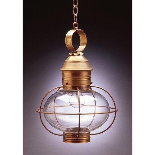 Northeast Lantern Onion Medium Base Socket Caged 1 Light Hanging Lantern