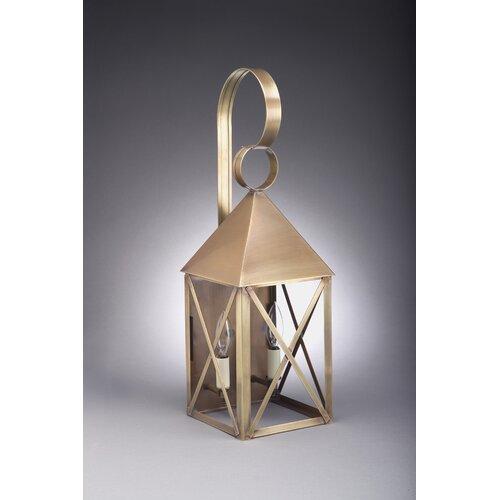 Northeast Lantern York Medium Base Socket Pyramid Top X-Bars Wall Lantern