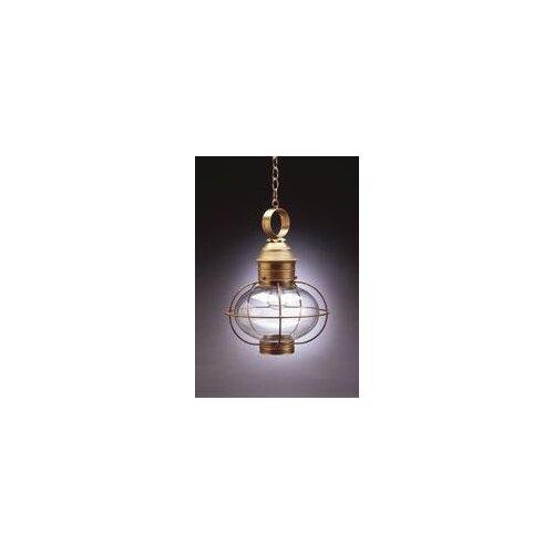 Northeast Lantern Onion Medium Base Socket Cage 1 Light Hanging Lantern