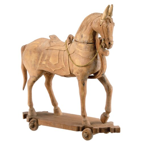 Wood Horse Pull Toy with Rope Statue