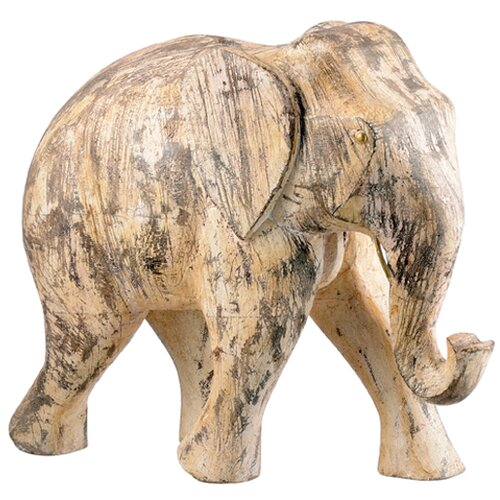 Wood Elephants Statue (Set of 2)