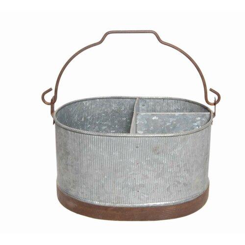 Metal round coal bucket planter wayfair supply for Metal bucket planter