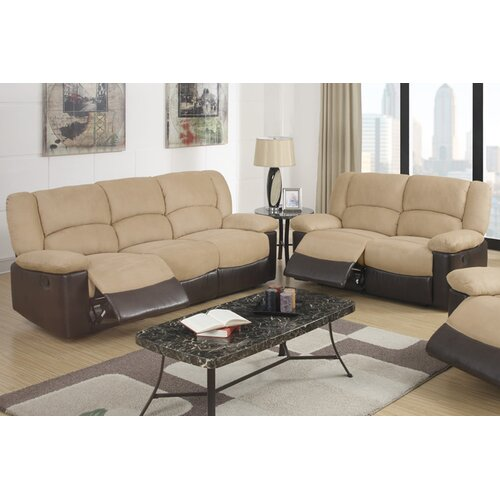 Bobkona 2 Piece Recliner Loveseat and Sofa Set