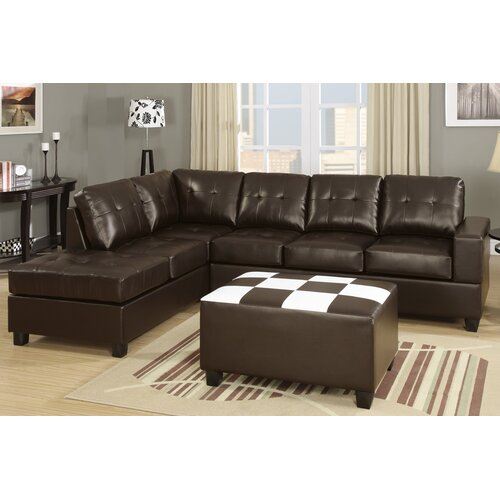 Poundex Bobkona Console Sectional Sofa and Ottoman