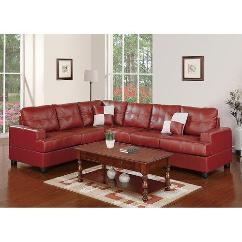 Poundex Sectional White Leather Sofa Chaise: Poundex Bobkona Karen Bonded Leather Reversible Sectional