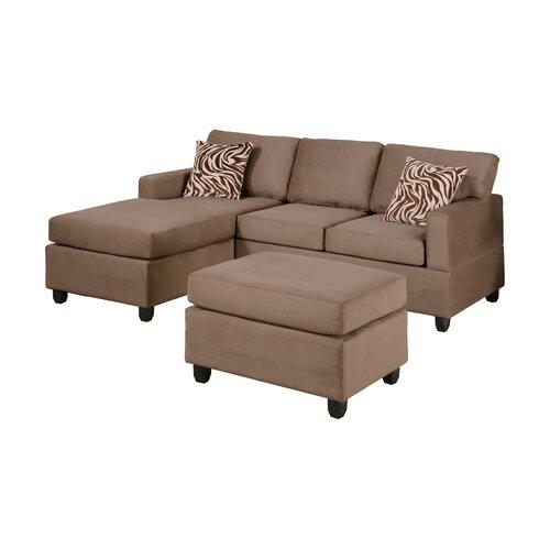 Poundex bobkona modular sectional sofa with ottoman for Modular sectional sofa with ottoman