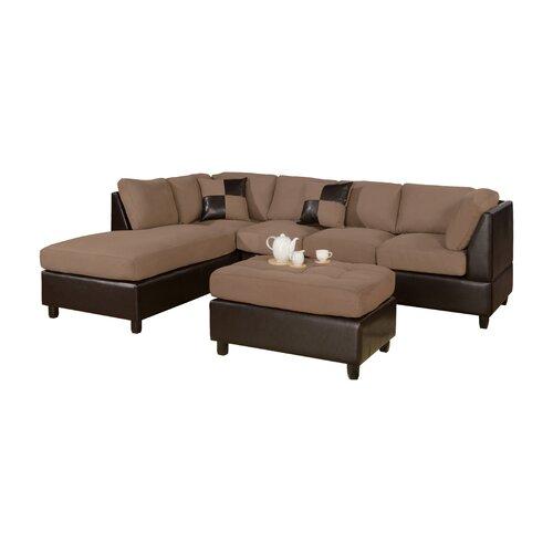 Poundex bobkona left hand facing sectional reviews wayfair for Bobkona sectional sofa with ottoman